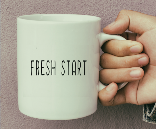 Coffee mug with the word FRESH
